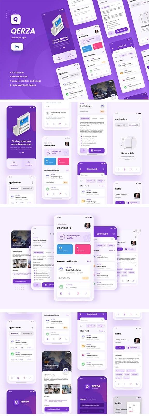 Job Portal iOS App Design Template