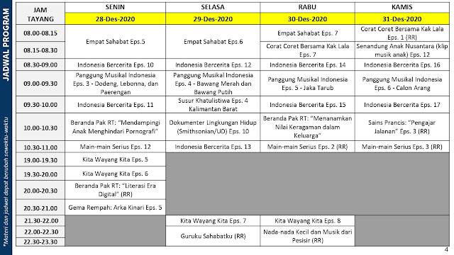 jadwal program belajar dari rumah bdr tvri tanggal 28 29 30 31 desember 2020 tomatalikuang.com