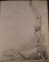 "A title page for ""The Grave."" Along the bottom of the page is an illustration of a reclining skeleton looking up into a trumpet being blown by an upside-down nude man."