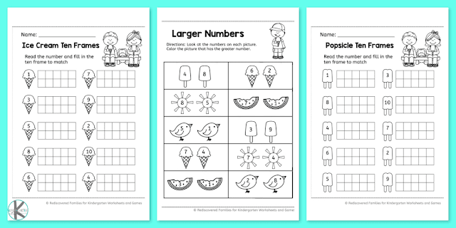 Free Summer Kindergarten Math Worksheets