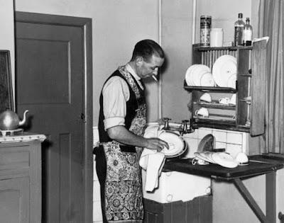 Elderly men doing household chores