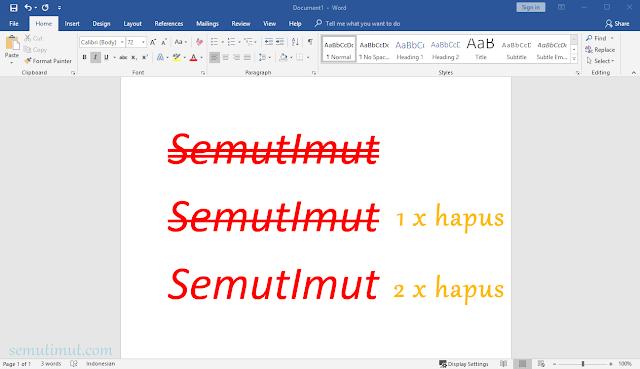 cara mencoret tulisan di ms word 2013