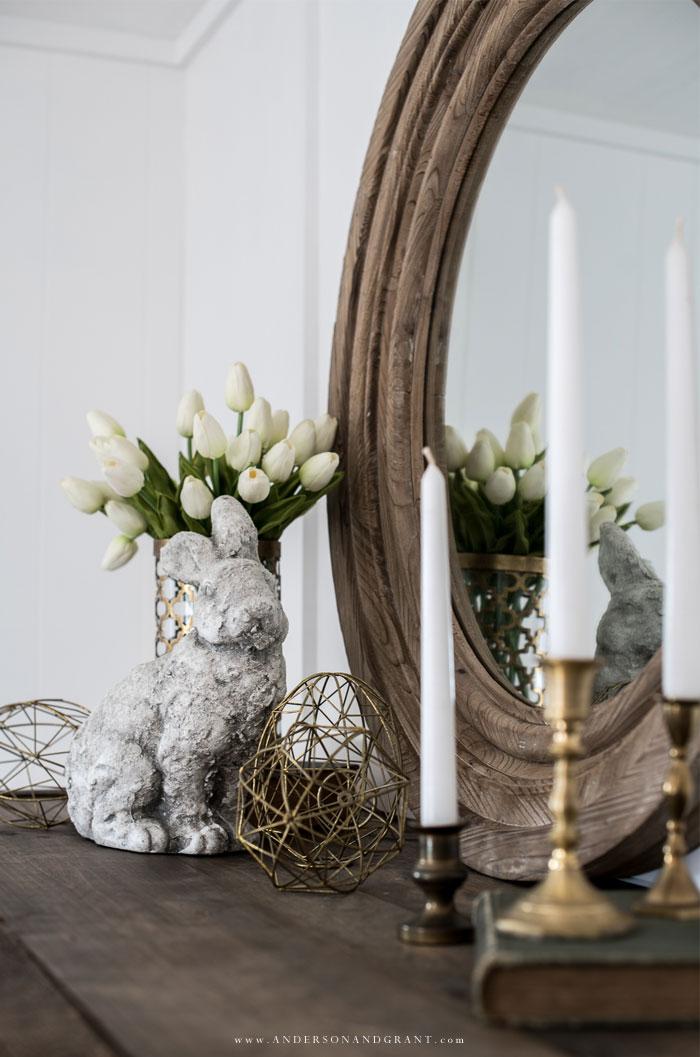 Concrete bunny on mantel