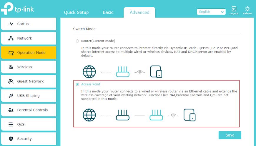 Trecere router TP-Link în modul access point