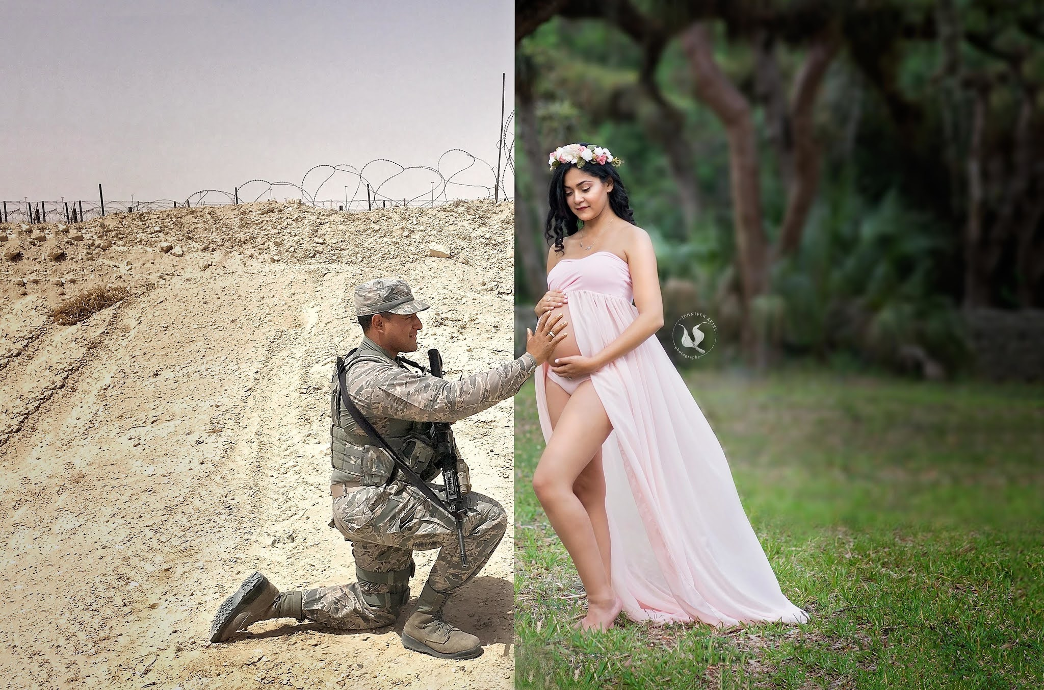 The soldier husband joins wife's Maternity shoot from war. The moments are emotional.