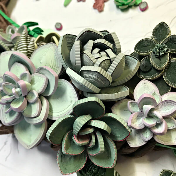 quilled green paper succulents on wreath - detail