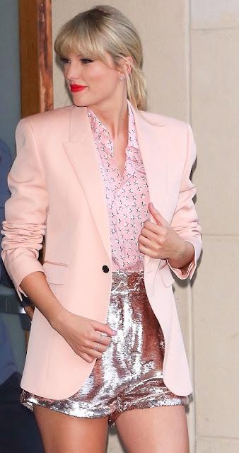 Taylor Swift pink blazer and sequin shorts 2019