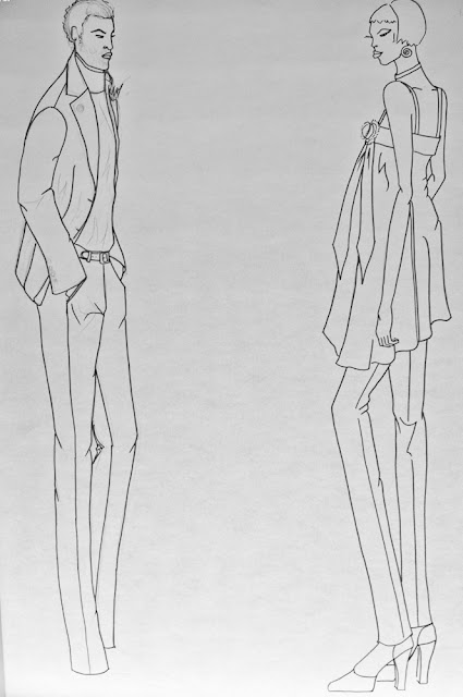 Boceto perfilado de El y Ella