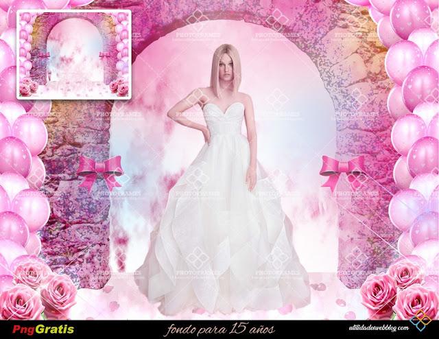 Lindo fondo color rosa para fotomontajes de quinceaños o bodas