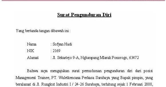 Contoh Surat Pengunduran Diri Via Sms Cara Ku Mu Download Gambar