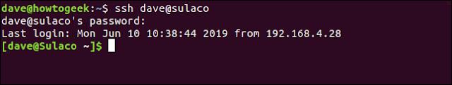 المستخدم متصلا sulaco باستخدام ssh وكلمة مرور