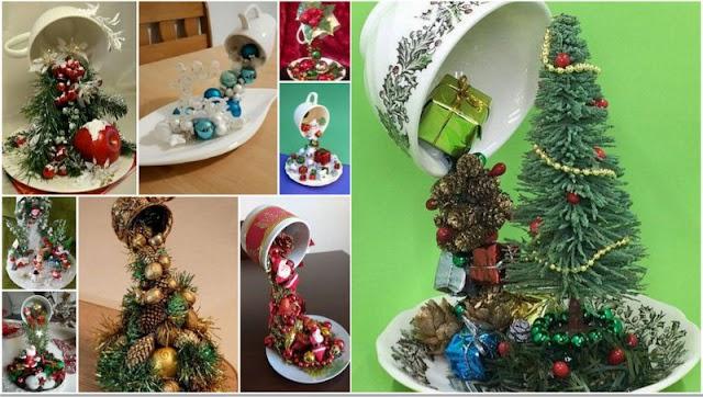 DIY Χριστουγεννιάτικες Συνθέσεις με φλυτζάνια