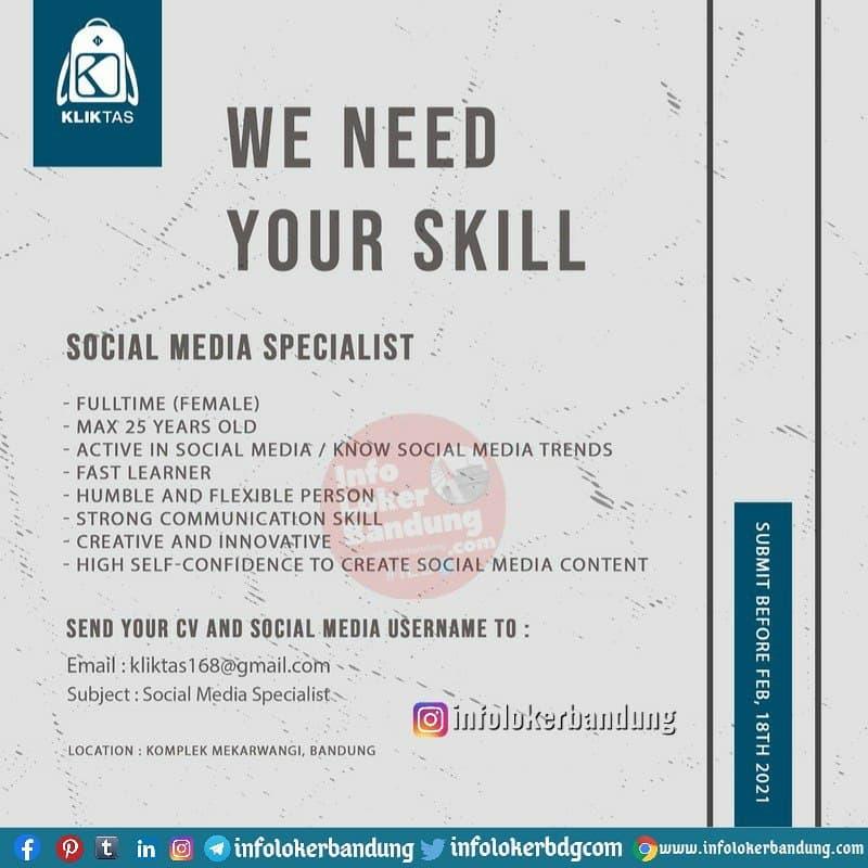 Lowongan Kerja Social Media Specialist Kliktas.id Bandung Februari 2021