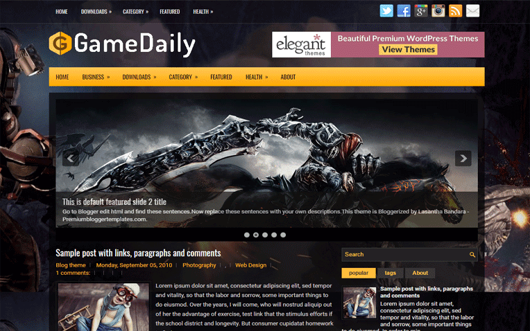 GameDaily Free Blogger Template