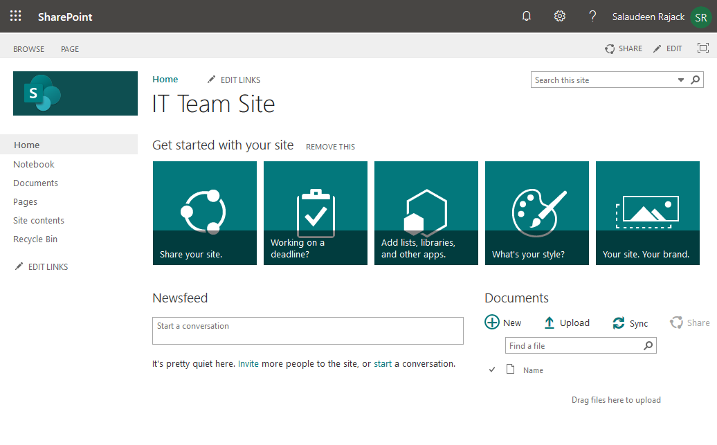 sharepoint online classic team site