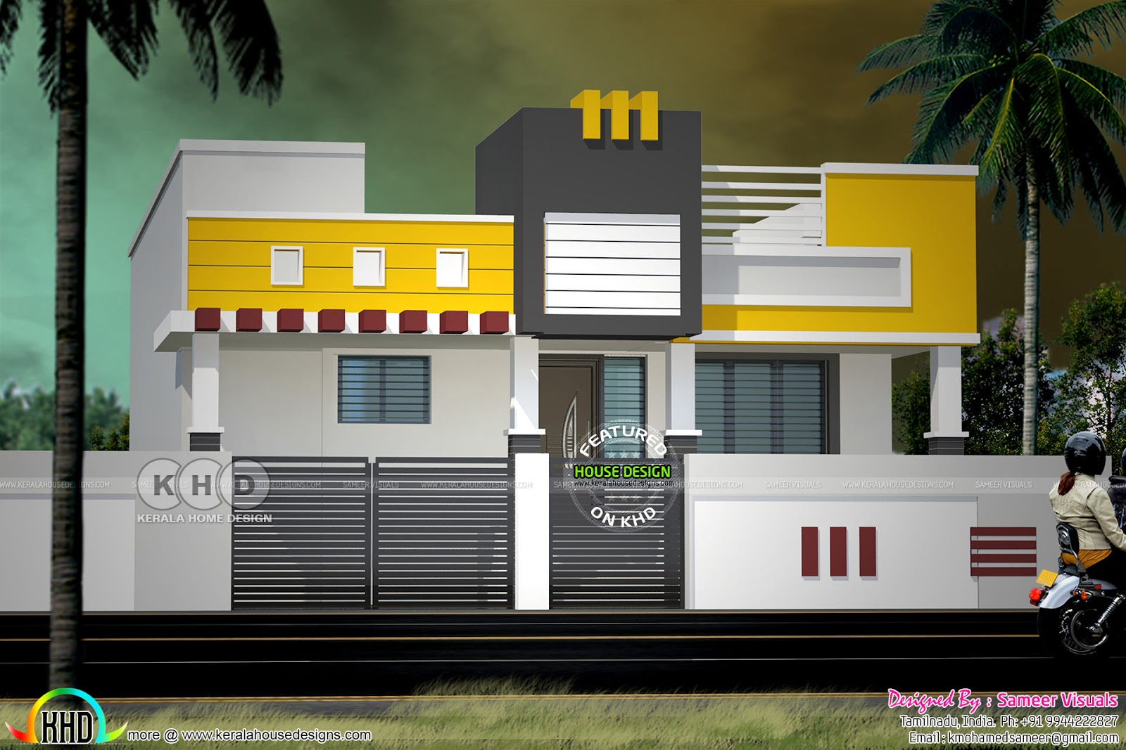 Indian Home Design: Modern South Indian Style Single Floor Home