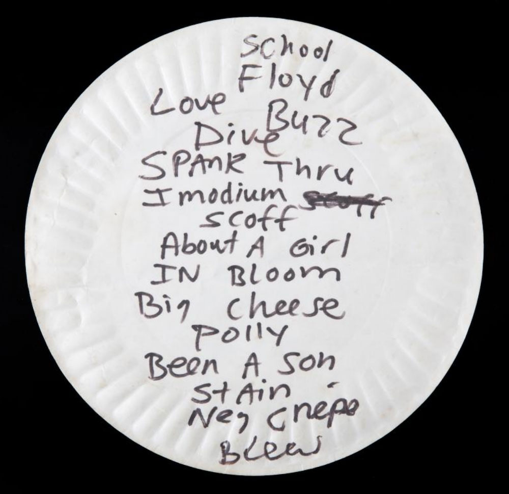 kurt cobain pizza plate setlist auction