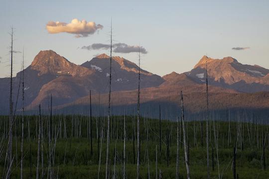 Sunset in Glacier National Park near Howe Lake