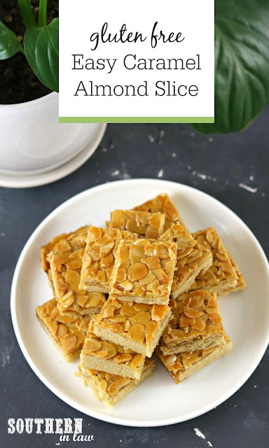 Easy Caramel Almond Slice Recipe - Gluten Free Dessert Recipes for High Tea