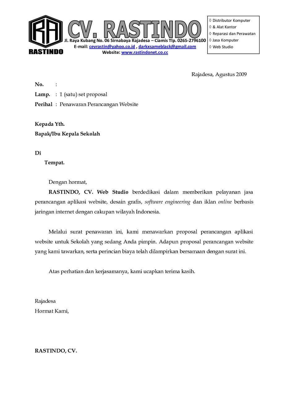 Contoh Surat Penawaran Kerjasama  Assalam Print