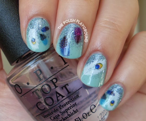 Feather Water Nail Decals and Glitter Gradient