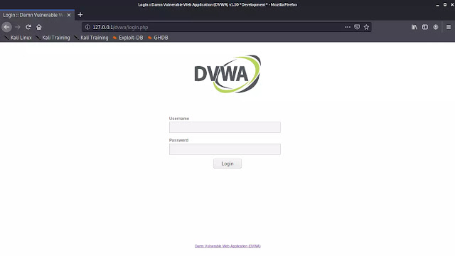 DVWA default login