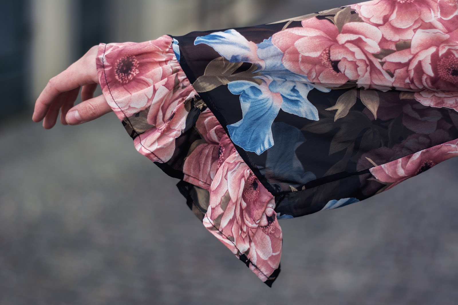 Pink Mango Bomber Jacket | Pink and Blue Floral Honey Punch Dress | Rose Kiara Peaches