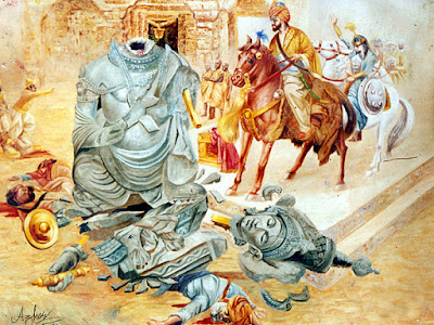 Mahmud of Ghazni breaking the Somnath temple, a painting by Azhar Abbas