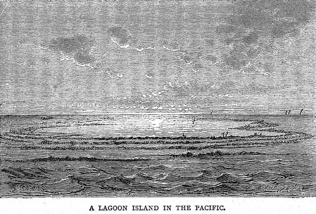 an 1873 illustration of  A Lagoon Island in the Pacific
