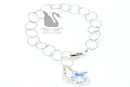 Floating Circles Crystal Ice Starfish Charm Bracelet (B178-CAB)