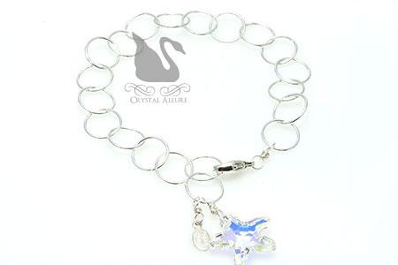 Floating Circles Crystal Ice Starfish Charm Bracelet (B178-CAB)