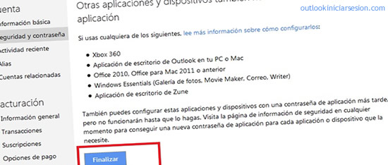 interface de outlook iniciar sesión