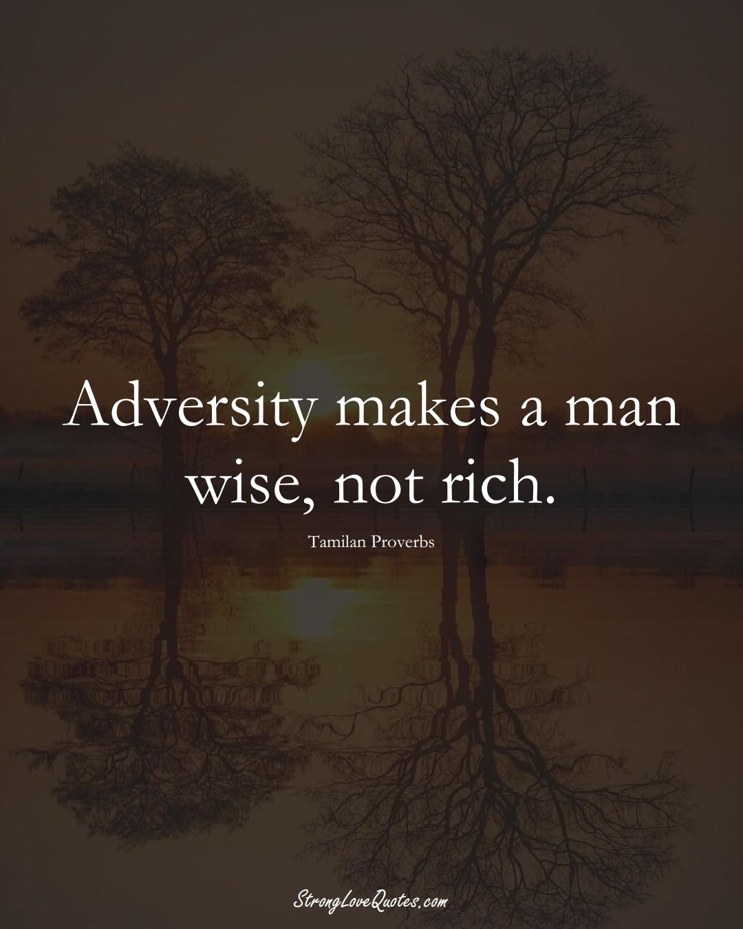 Adversity makes a man wise, not rich. (Tamilan Sayings);  #aVarietyofCulturesSayings