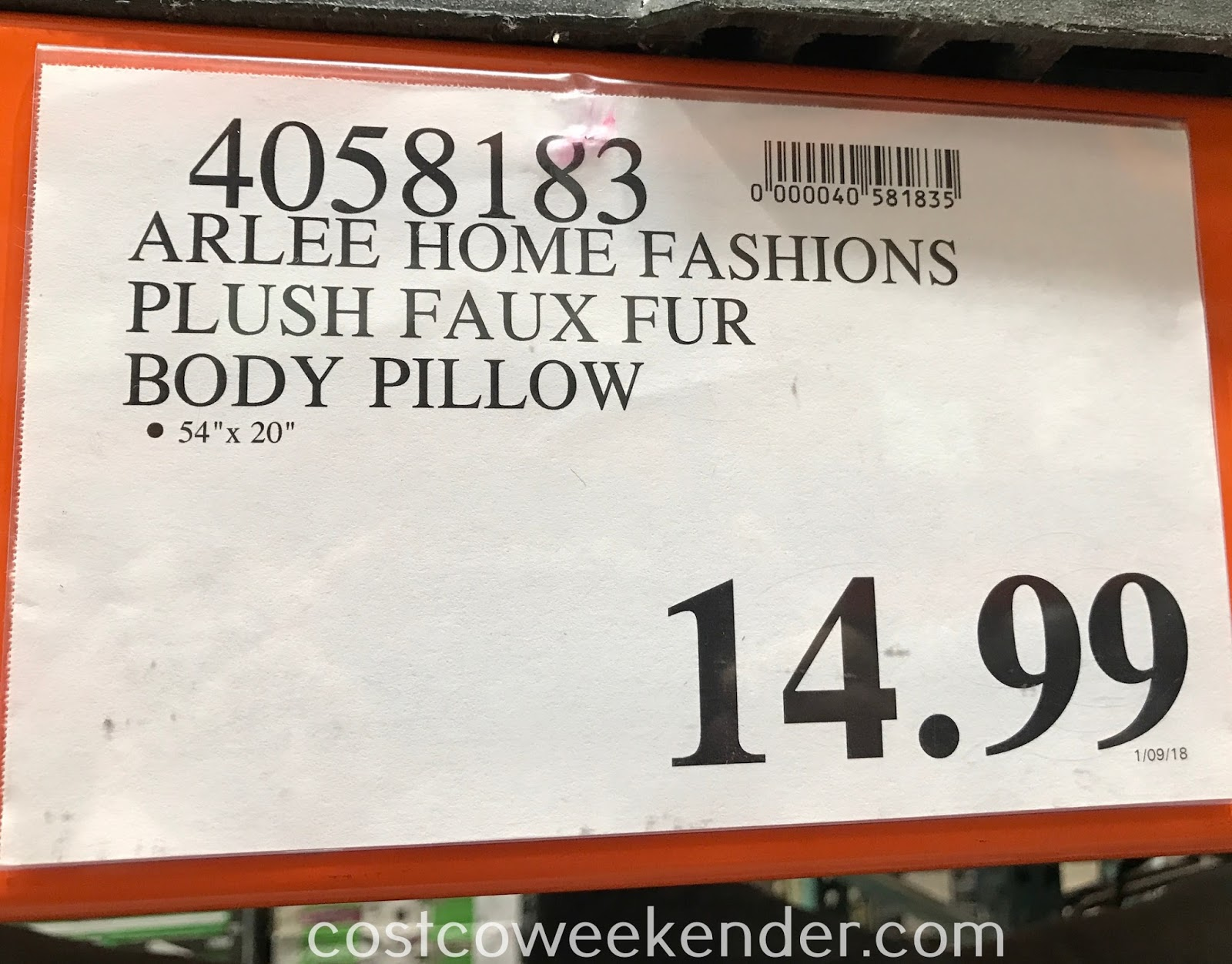 Deal for the Arlee Home Fashions Plush Faux Fur Body Pillow at Costco