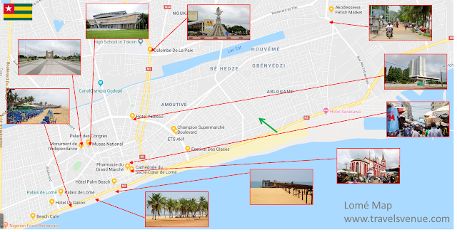 Togo Tourist Things to See Map