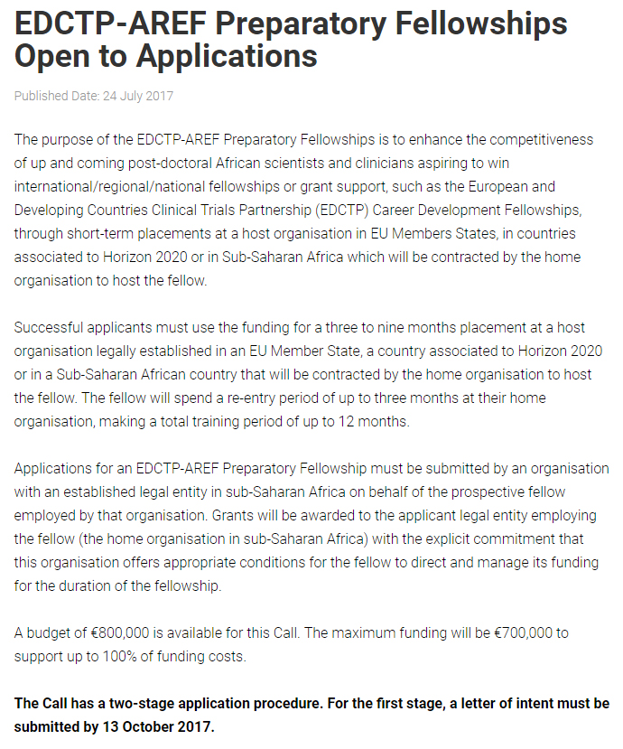 EDCTP AREF Preparatory Postdoctoral Fellowships for African Scientists