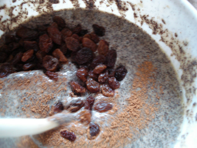 rum, raisins, lemon zest and cinnamon in the poppy seed mixture