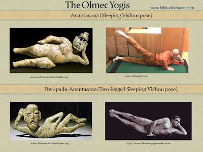 Olmecs figurines in reclining yogic postures - Anantasana, Dwi-pada-Anantasana.