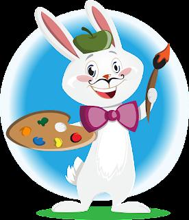 صورة لأرنب كرتون بصيغة png يمسك ريشة وألوان بيديه