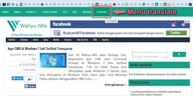 "Menambahkan ""Translate"" Pada Menu Blog"
