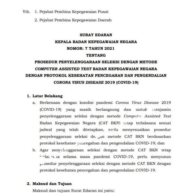 Surat Edaran BKN Tentang Prosedur Seleksi CST CPNS Ditengah Pandemi Covid-19