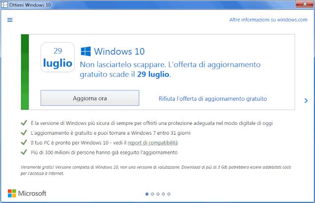 Notifica Ottieni Windows 10 entro il 29 Luglio