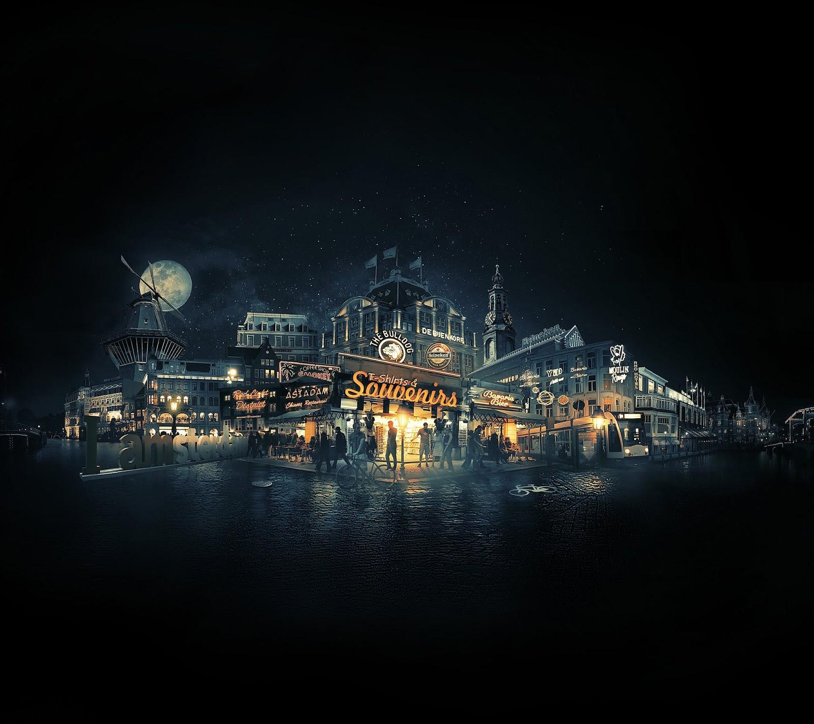 Amsterdam, Cityscape, Nightscape, 4K, World
