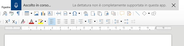 dettatura con Windows 10 in LibreOffice
