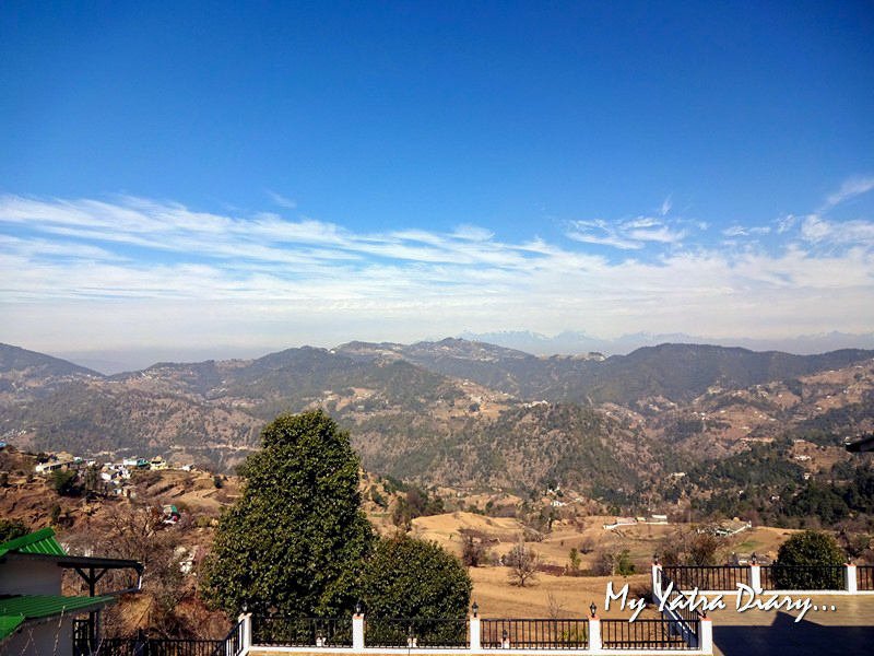 View from the terrace at Rosewood Dhanachuli Retreat, Uttarakhand