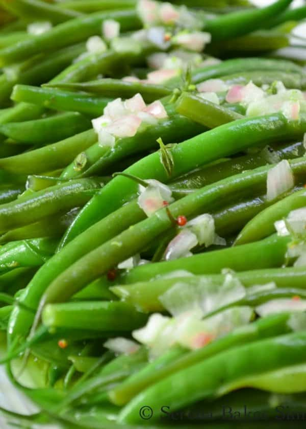 Easy Green Bean Salad recipe is delicious served warm, at room temperature or cold. It's a great side dish recipe for Thanksgiving or Christmas from Serena Bakes Simply From Scratch.