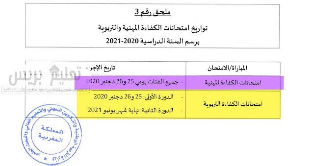 تاريخ إجراء الإمتحان المهني برسم الموسم الدراسي 2020-2021
