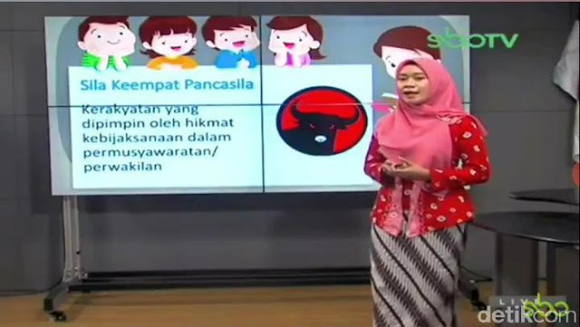 Viral! Program Belajar Daring TV Surabaya, Sila Keempat Pancasila Digambarkan dengan Logo PDIP