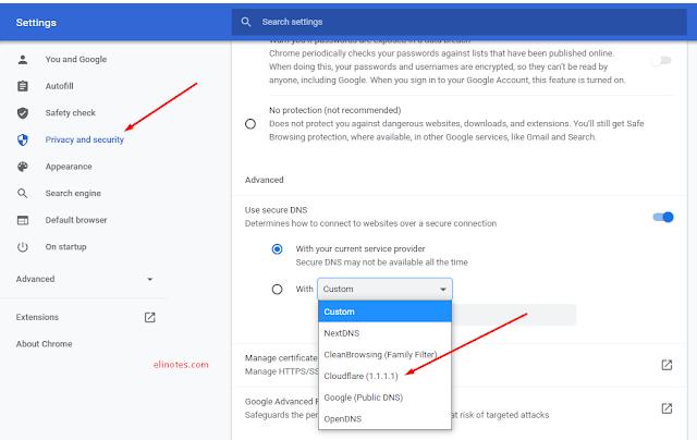 secure security menubah dns chrome dengan cloudflare