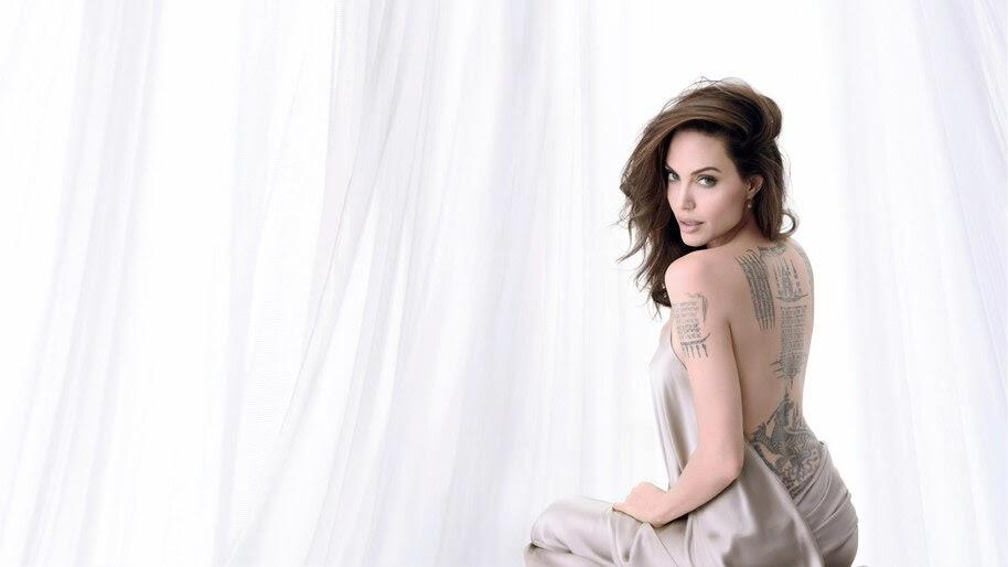 Angelina Jolie, Back, Tattoo, Girl, 4K, #4.1373